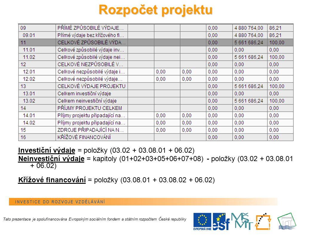17 Rozpočet projektu Investiční výdaje = položky (03.02 + 03.08.01 + 06.02) Neinvestiční výdaje = kapitoly (01+02+03+05+06+07+08) - položky (03.02 + 03.08.01 + 06.02) Křížové financování = položky (03.08.01 + 03.08.02 + 06.02) Tato prezentace je spolufinancována Evropským sociálním fondem a státním rozpočtem České republiky
