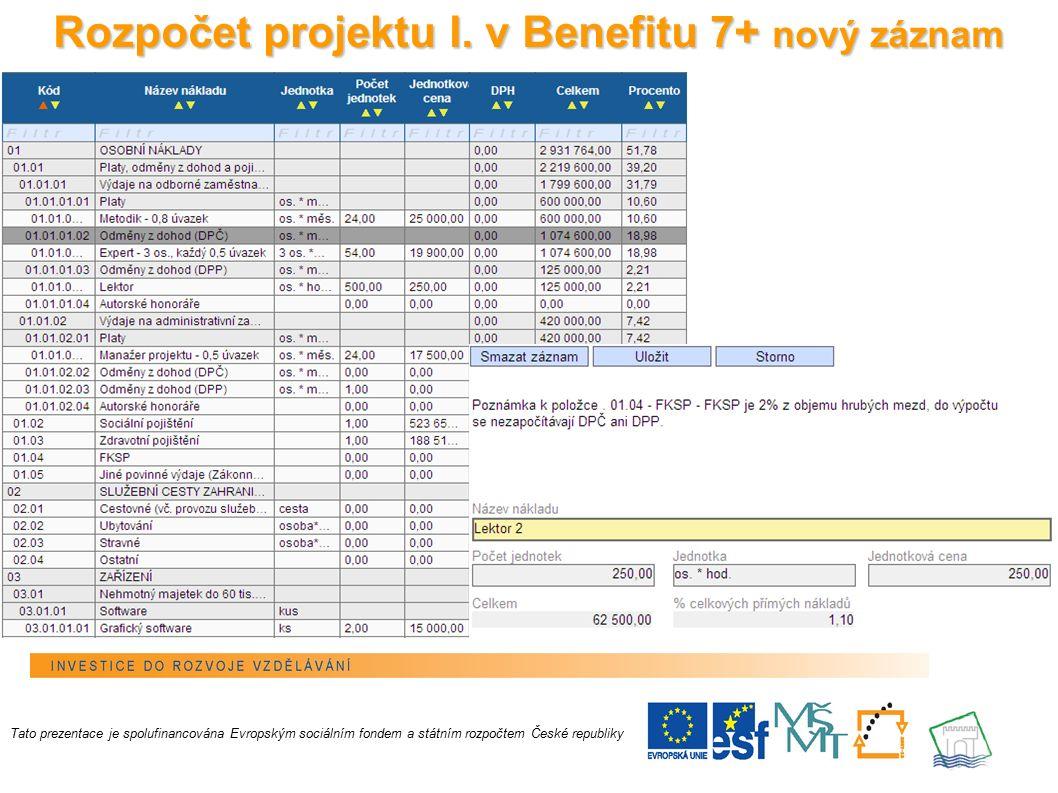 19 Rozpočet projektu I.