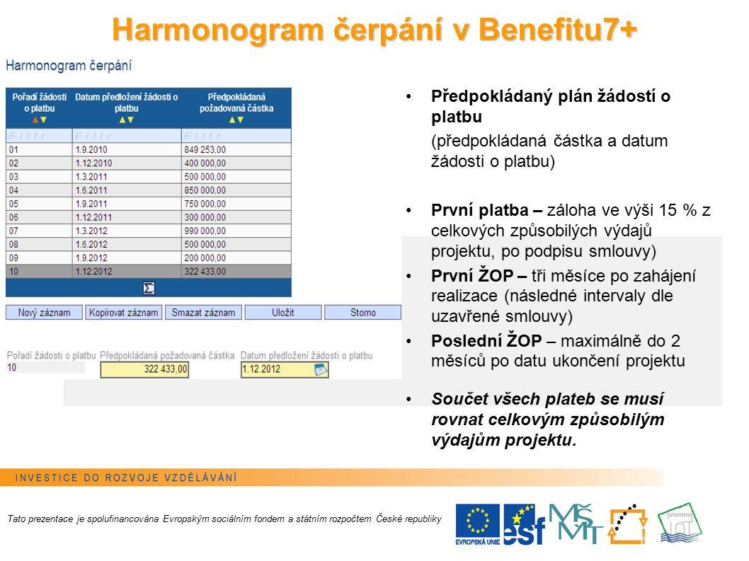 21 Tato prezentace je spolufinancována Evropským sociálním fondem a státním rozpočtem České republiky Předpokládaný plán žádostí o platbu (předpokládaná částka a datum žádosti o platbu) První platba – záloha ve výši 15 % z celkových způsobilých výdajů projektu, po podpisu smlouvy) První ŽOP – tři měsíce po zahájení realizace (následné intervaly dle uzavřené smlouvy) Poslední ŽOP – maximálně do 2 měsíců po datu ukončení projektu Součet všech plateb se musí rovnat celkovým způsobilým výdajům projektu.
