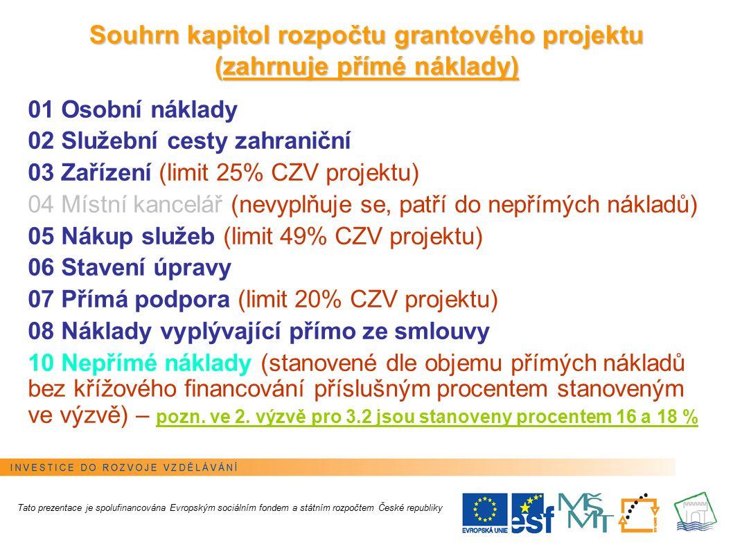 3 Souhrn kapitol rozpočtu grantového projektu (zahrnuje přímé náklady) 01 Osobní náklady 02 Služební cesty zahraniční 03 Zařízení (limit 25% CZV projektu) 04 Místní kancelář (nevyplňuje se, patří do nepřímých nákladů) 05 Nákup služeb (limit 49% CZV projektu) 06 Stavení úpravy 07 Přímá podpora (limit 20% CZV projektu) 08 Náklady vyplývající přímo ze smlouvy 10 Nepřímé náklady (stanovené dle objemu přímých nákladů bez křížového financování příslušným procentem stanoveným ve výzvě) – pozn.