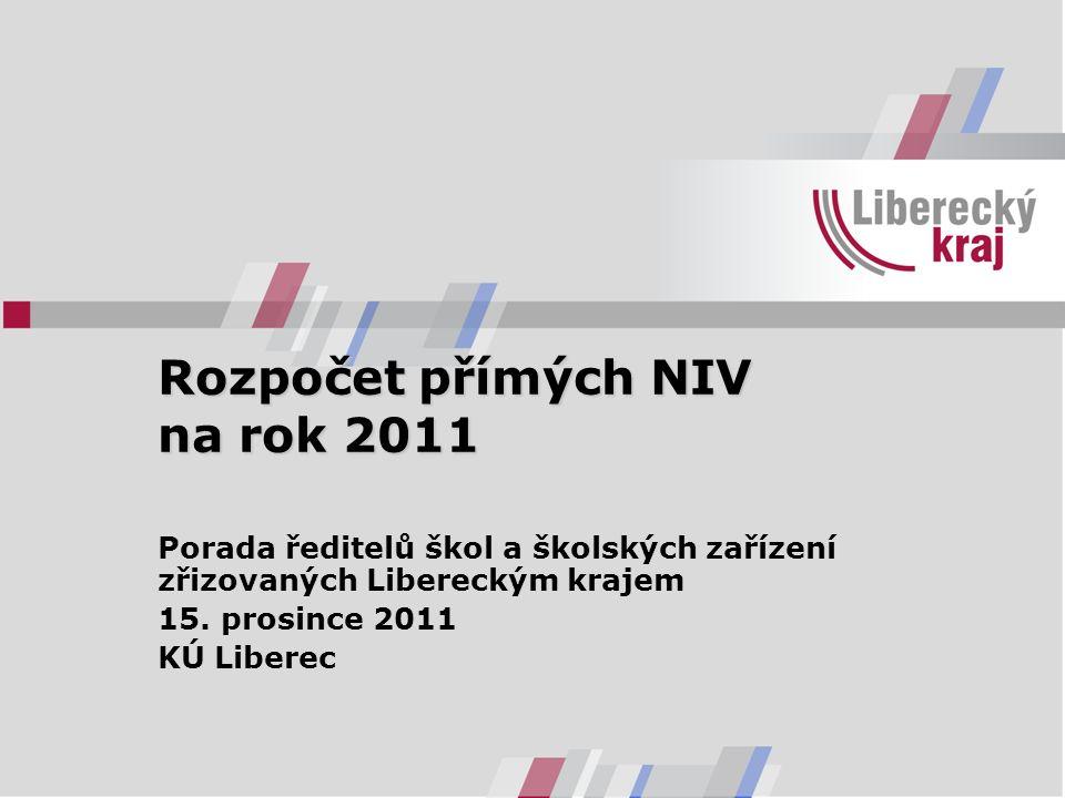 Rozpočet přímých NIV na rok 2011 Porada ředitelů škol a školských zařízení zřizovaných Libereckým krajem 15. prosince 2011 KÚ Liberec