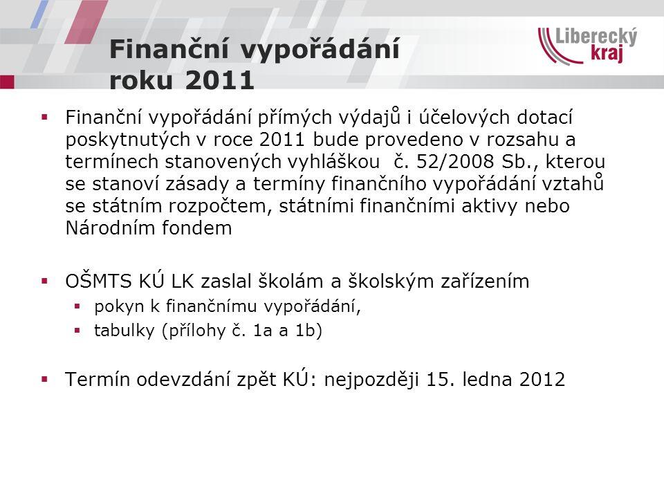 Finanční vypořádání roku 2011  Finanční vypořádání přímých výdajů i účelových dotací poskytnutých v roce 2011 bude provedeno v rozsahu a termínech st