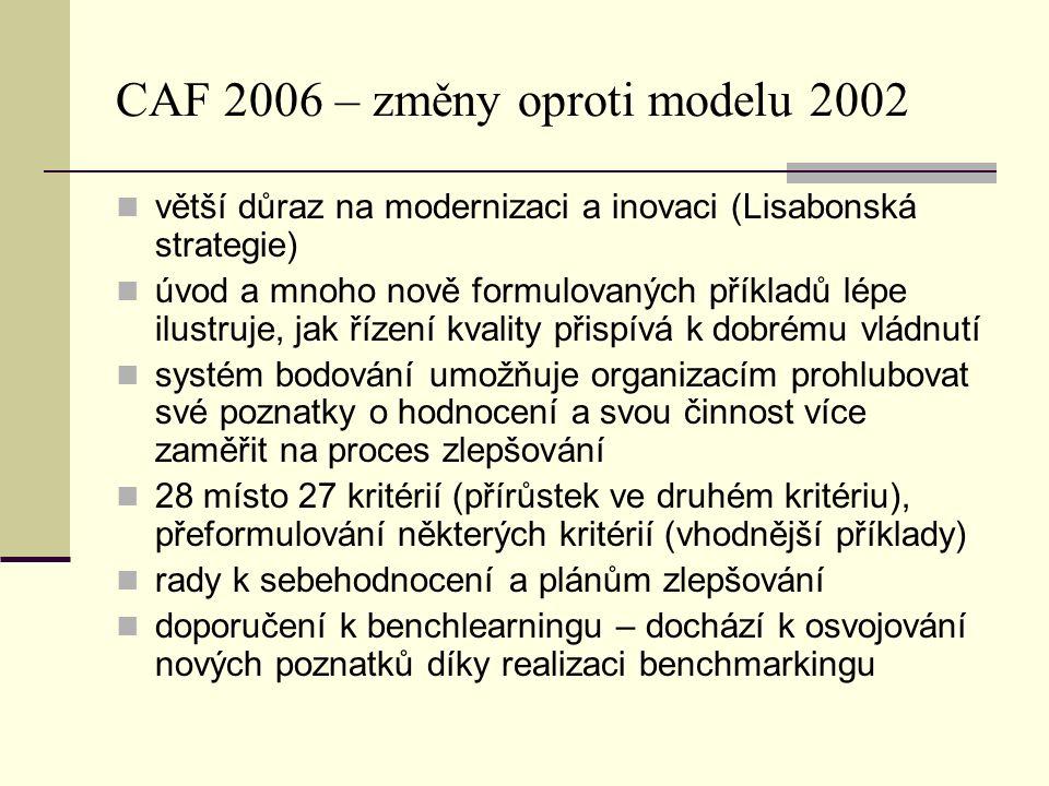 CAF 2006 – změny oproti modelu 2002 větší důraz na modernizaci a inovaci (Lisabonská strategie) úvod a mnoho nově formulovaných příkladů lépe ilustruje, jak řízení kvality přispívá k dobrému vládnutí systém bodování umožňuje organizacím prohlubovat své poznatky o hodnocení a svou činnost více zaměřit na proces zlepšování 28 místo 27 kritérií (přírůstek ve druhém kritériu), přeformulování některých kritérií (vhodnější příklady) rady k sebehodnocení a plánům zlepšování doporučení k benchlearningu – dochází k osvojování nových poznatků díky realizaci benchmarkingu