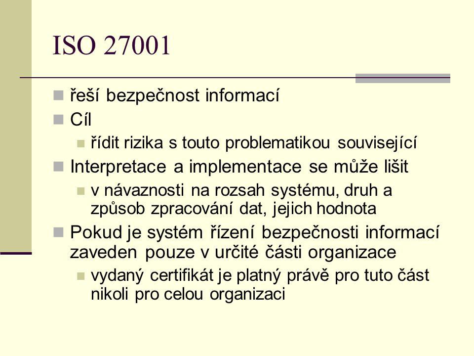 ISO 27001 řeší bezpečnost informací Cíl řídit rizika s touto problematikou související Interpretace a implementace se může lišit v návaznosti na rozsah systému, druh a způsob zpracování dat, jejich hodnota Pokud je systém řízení bezpečnosti informací zaveden pouze v určité části organizace vydaný certifikát je platný právě pro tuto část nikoli pro celou organizaci
