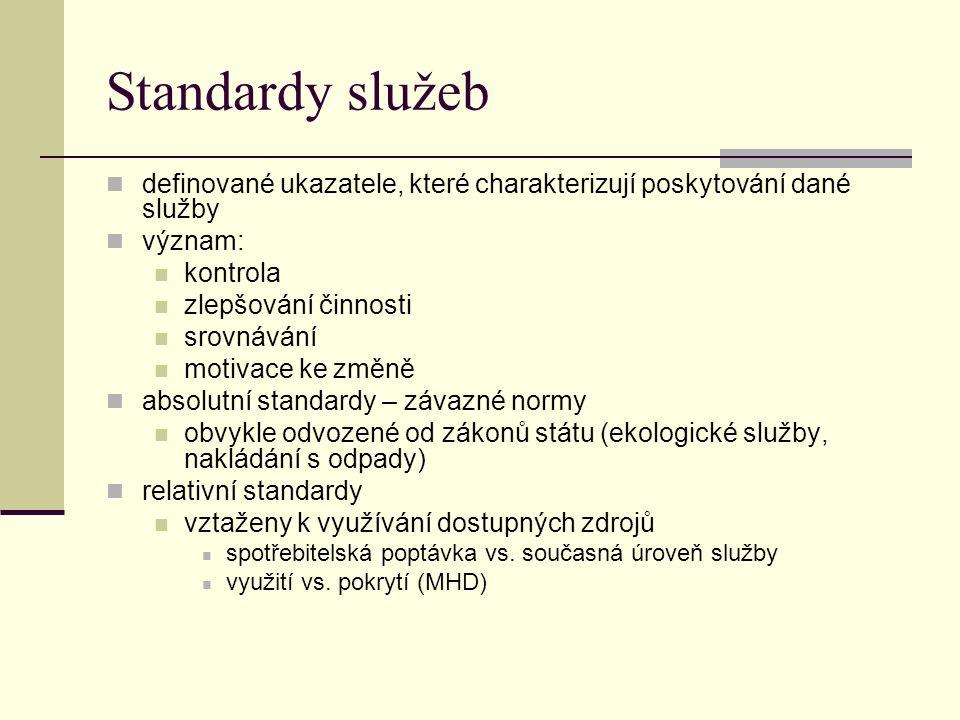 Standardy služeb definované ukazatele, které charakterizují poskytování dané služby význam: kontrola zlepšování činnosti srovnávání motivace ke změně absolutní standardy – závazné normy obvykle odvozené od zákonů státu (ekologické služby, nakládání s odpady) relativní standardy vztaženy k využívání dostupných zdrojů spotřebitelská poptávka vs.