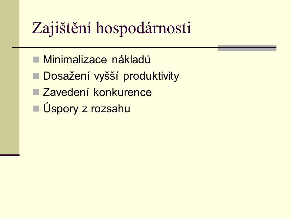 Zajištění hospodárnosti Minimalizace nákladů Dosažení vyšší produktivity Zavedení konkurence Úspory z rozsahu
