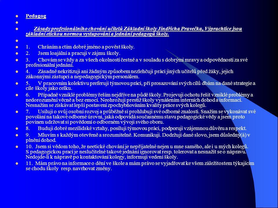 Pedagog Zásady profesionálního chování učitelů Základní školy Jindřicha Pravečka, Výprachtice jsou základní etickou normou vystupování a jednání pedagogů školy.