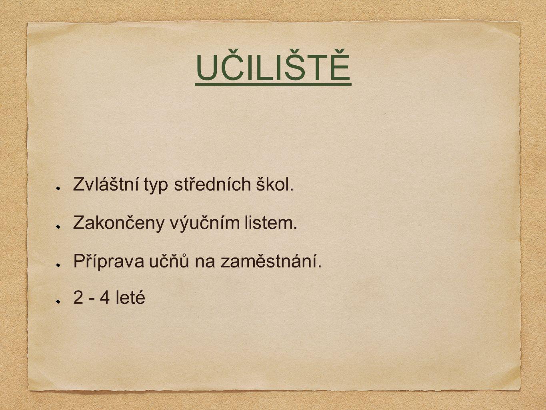UČILIŠTĚ Zvláštní typ středních škol. Zakončeny výučním listem.