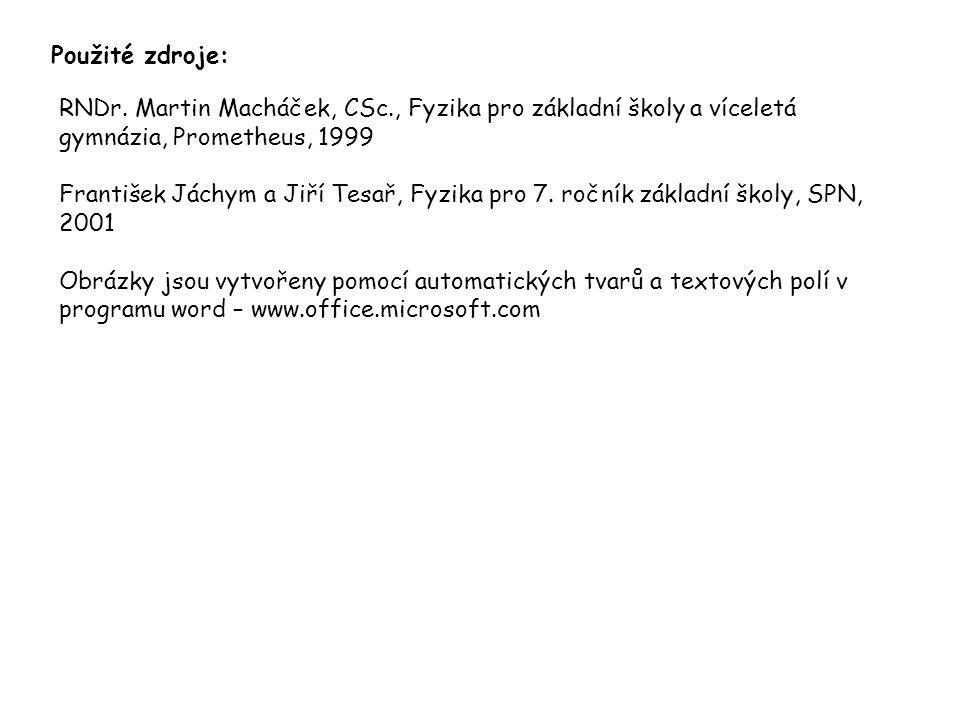 Použité zdroje: RNDr. Martin Macháček, CSc., Fyzika pro základní školy a víceletá gymnázia, Prometheus, 1999 František Jáchym a Jiří Tesař, Fyzika pro
