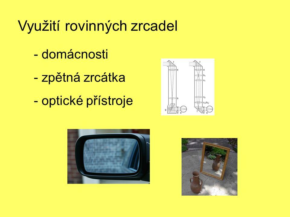 Využití rovinných zrcadel - domácnosti - zpětná zrcátka - optické přístroje