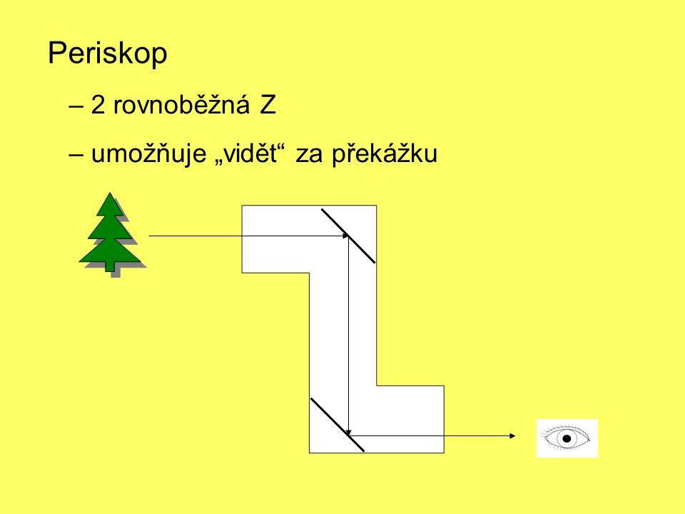 """– 2 rovnoběžná Z – umožňuje """"vidět za překážku Periskop"""