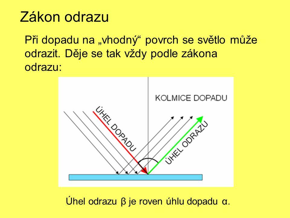 Při dopadu světla na nerovný povrch se světlo odráží také podle zákona odrazu, ale tak, že se rozptyluje.