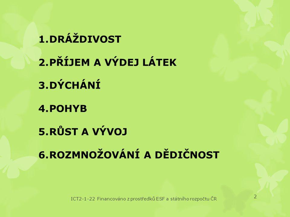 ICT2-1-22 Financováno z prostředků ESF a státního rozpočtu ČR 3 1.Dráždivost = reakce organismu na podnět z okolního prostředí Např.