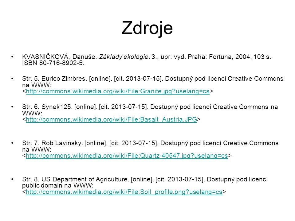 Zdroje KVASNIČKOVÁ, Danuše. Základy ekologie. 3., upr.