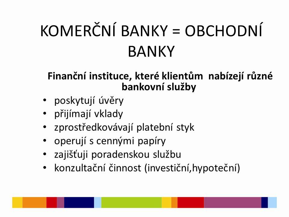 KOMERČNÍ BANKY = OBCHODNÍ BANKY Finanční instituce, které klientům nabízejí různé bankovní služby: poskytují úvěry přijímají vklady zprostředkovávají platební styk operují s cennými papíry zajišťuji poradenskou službu konzultační činnost (investiční,hypoteční)
