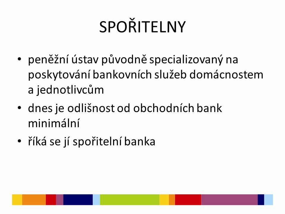 SPOŘITELNY peněžní ústav původně specializovaný na poskytování bankovních služeb domácnostem a jednotlivcům dnes je odlišnost od obchodních bank minimální říká se jí spořitelní banka