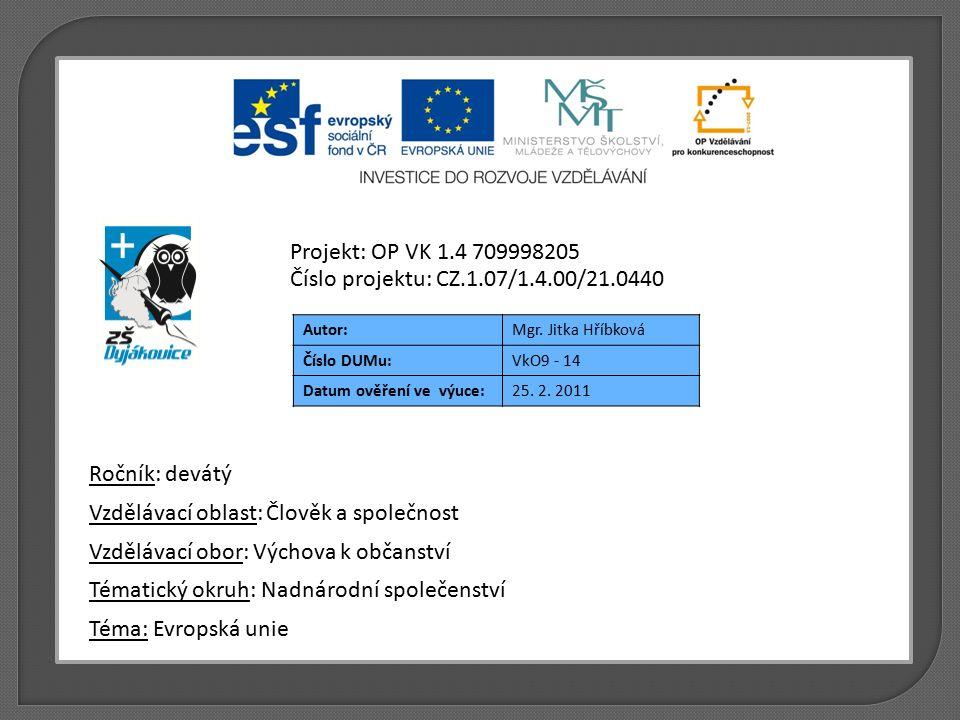 Autor:Mgr. Jitka Hříbková Číslo DUMu:VkO9 - 14 Datum ověření ve výuce:25. 2. 2011 Téma: Evropská unie Tématický okruh: Nadnárodní společenství Vzděláv