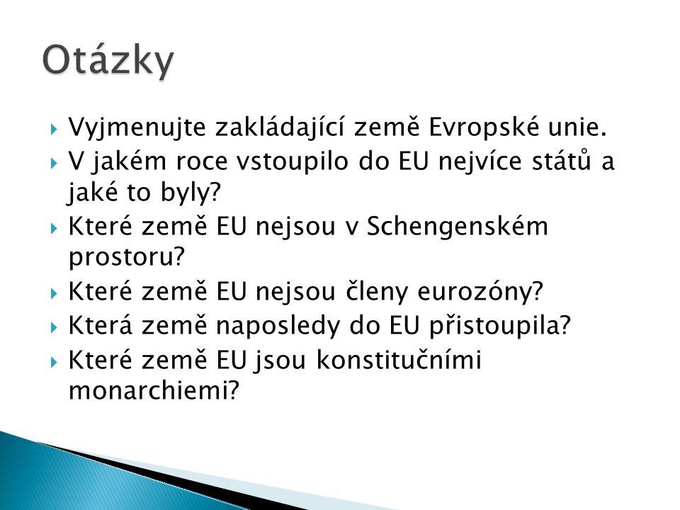  Vyjmenujte zakládající země Evropské unie.
