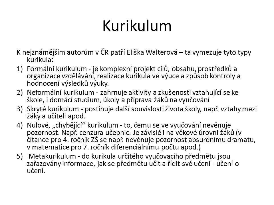 Kurikulum K nejznámějším autorům v ČR patří Eliška Walterová – ta vymezuje tyto typy kurikula: 1)Formální kurikulum - je komplexní projekt cílů, obsah
