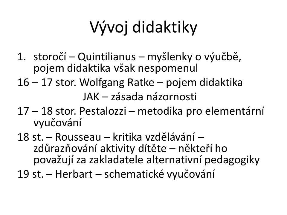 Vývoj didaktiky 1.storočí – Quintilianus – myšlenky o výučbě, pojem didaktika však nespomenul 16 – 17 stor. Wolfgang Ratke – pojem didaktika JAK – zás