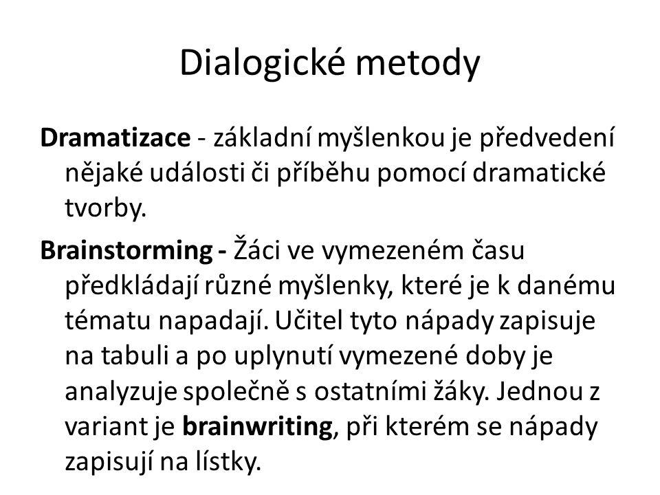 Dialogické metody Dramatizace - základní myšlenkou je předvedení nějaké události či příběhu pomocí dramatické tvorby. Brainstorming - Žáci ve vymezené