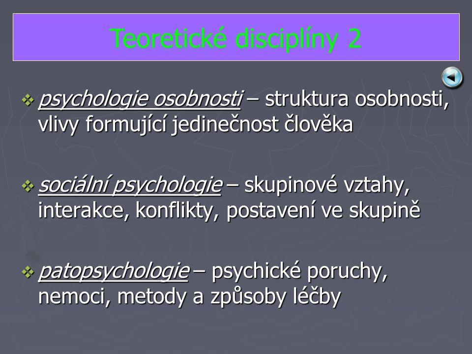 ppppsychologie osobnosti – struktura osobnosti, vlivy formující jedinečnost člověka ssssociální psychologie – skupinové vztahy, interakce, konflikty, postavení ve skupině ppppatopsychologie – psychické poruchy, nemoci, metody a způsoby léčby Teoretické disciplíny 2