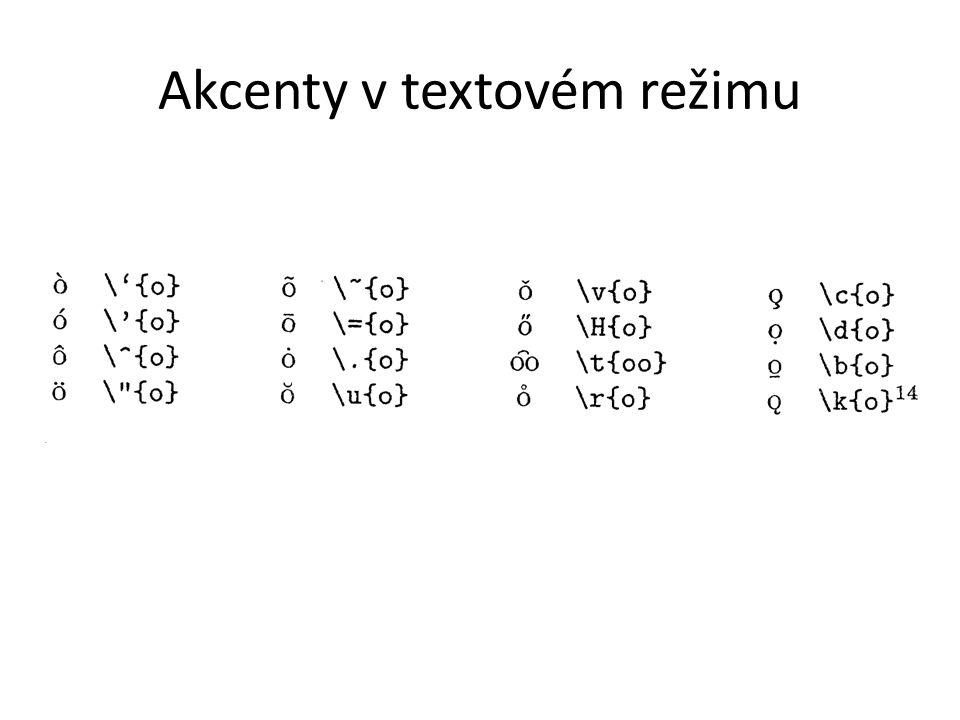 Akcenty v textovém režimu