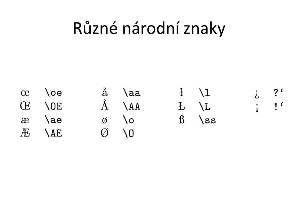 Různé národní znaky