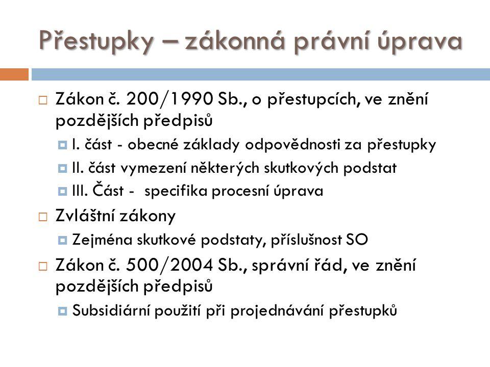 Přestupky – zákonná právní úprava  Zákon č.