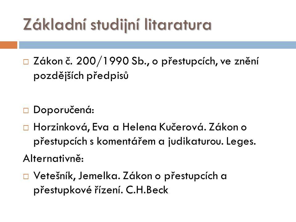 Základní studijní litaratura  Zákon č.