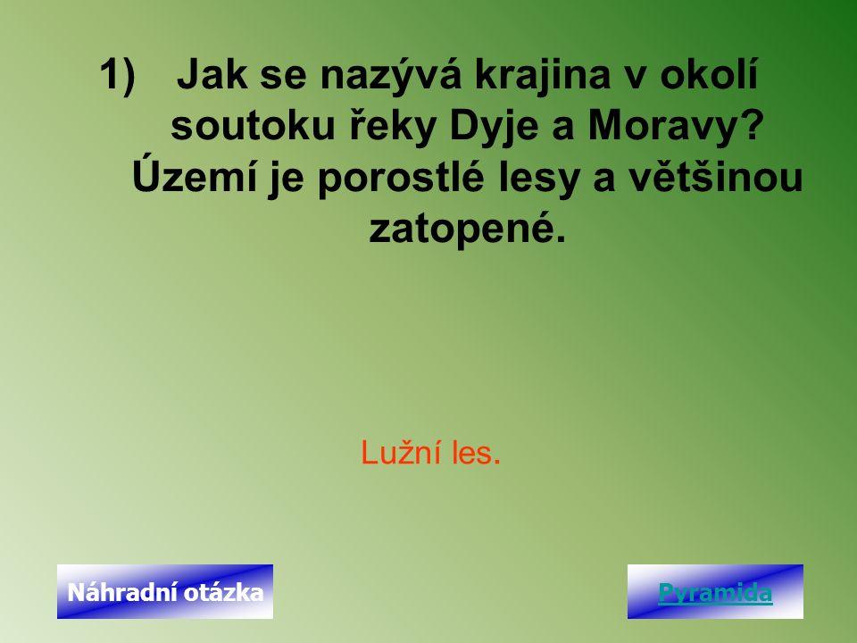 1)Jak se nazývá krajina v okolí soutoku řeky Dyje a Moravy? Území je porostlé lesy a většinou zatopené. Lužní les. PyramidaNáhradní otázka