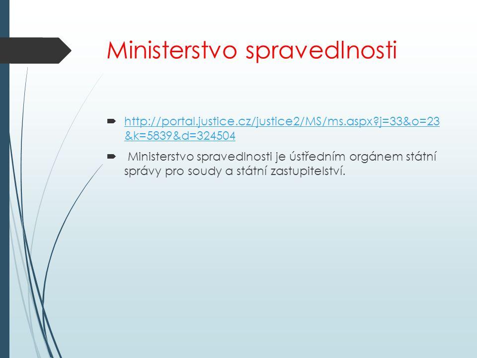 Ministerstvo spravedlnosti  http://portal.justice.cz/justice2/MS/ms.aspx?j=33&o=23 &k=5839&d=324504 http://portal.justice.cz/justice2/MS/ms.aspx?j=33