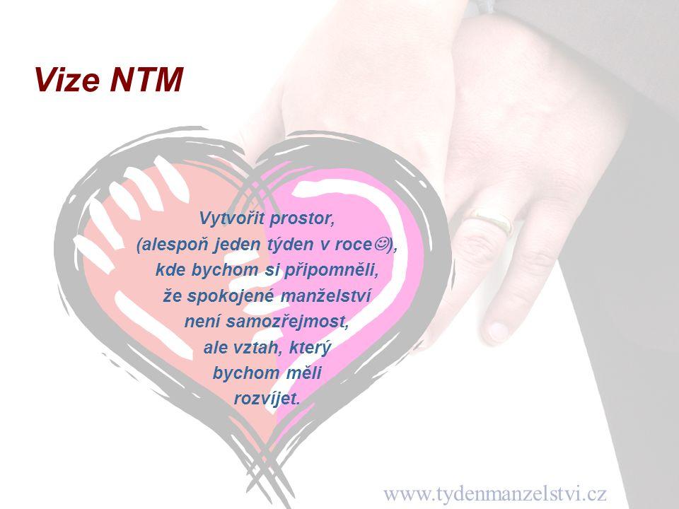www.tydenmanzelstvi.cz Vize NTM Vytvořit prostor, (alespoň jeden týden v roce ), kde bychom si připomněli, že spokojené manželství není samozřejmost, ale vztah, který bychom měli rozvíjet.