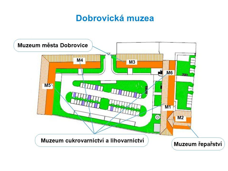 Dobrovická muzea Muzeum města Dobrovice Muzeum řepařství Muzeum cukrovarnictví a lihovarnictví M5 M4 M3 M6 M1 M2
