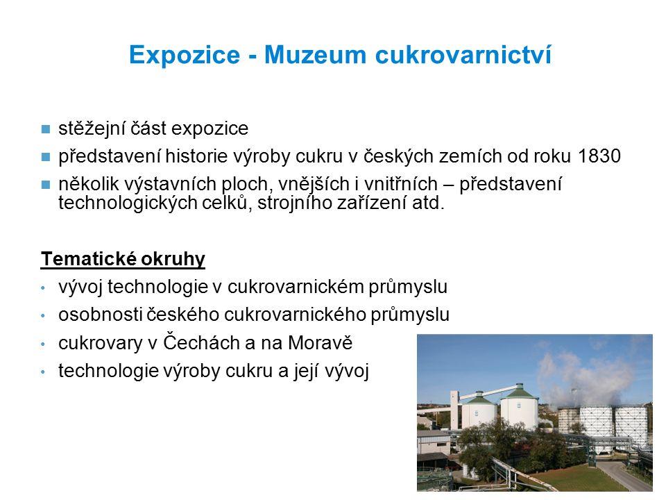 Expozice - Muzeum cukrovarnictví stěžejní část expozice představení historie výroby cukru v českých zemích od roku 1830 několik výstavních ploch, vnějších i vnitřních – představení technologických celků, strojního zařízení atd.