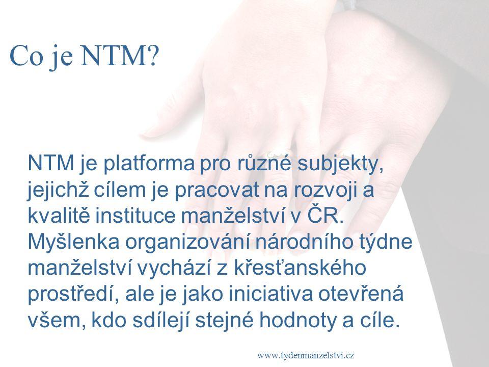www.tydenmanzelstvi.cz NTM je platforma pro různé subjekty, jejichž cílem je pracovat na rozvoji a kvalitě instituce manželství v ČR.