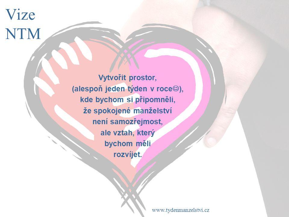 www.tydenmanzelstvi.cz Cíle NTM Cílem NTM je motivovat laickou a odbornou veřejnost, média i veřejně známé osobnosti, aby alespoň jednou za rok podpořili důležitost manželství ve společnosti a potřebu o ně pečovat.