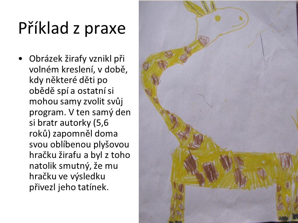 Příklad z praxe Obrázek žirafy vznikl při volném kreslení, v době, kdy některé děti po obědě spí a ostatní si mohou samy zvolit svůj program.