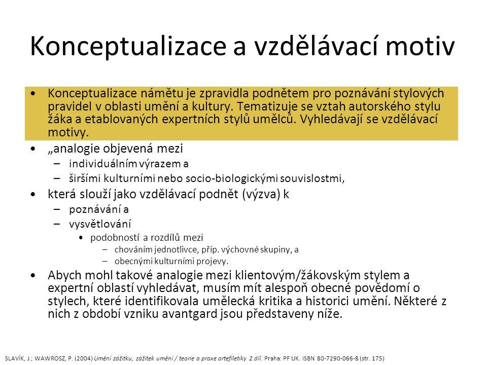 Konceptualizace a vzdělávací motiv Konceptualizace námětu je zpravidla podnětem pro poznávání stylových pravidel v oblasti umění a kultury.