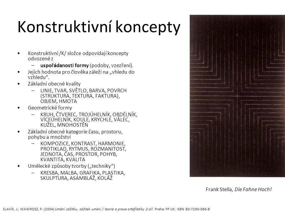 Konstruktivní koncepty Konstruktivní /K/ složce odpovídají koncepty odvozené z –uspořádanosti formy (podoby, vzezření).