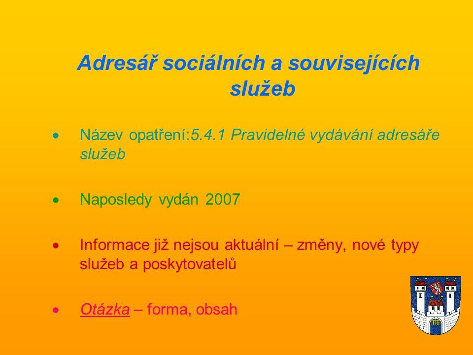 Adresář sociálních a souvisejících služeb  Název opatření:5.4.1 Pravidelné vydávání adresáře služeb  Naposledy vydán 2007  Informace již nejsou aktuální – změny, nové typy služeb a poskytovatelů  Otázka – forma, obsah