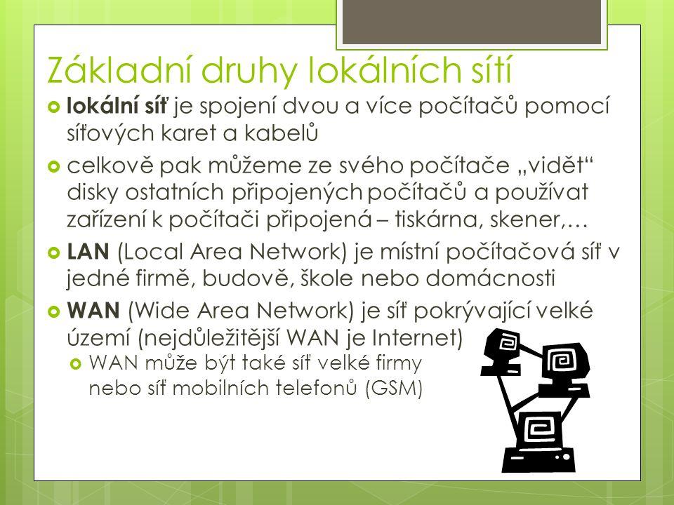 """Základní druhy lokálních sítí  lokální síť je spojení dvou a více počítačů pomocí síťových karet a kabelů  celkově pak můžeme ze svého počítače """"vidět disky ostatních připojených počítačů a používat zařízení k počítači připojená – tiskárna, skener,…  LAN (Local Area Network) je místní počítačová síť v jedné firmě, budově, škole nebo domácnosti  WAN (Wide Area Network) je síť pokrývající velké území (nejdůležitější WAN je Internet)  WAN může být také síť velké firmy nebo síť mobilních telefonů (GSM)"""