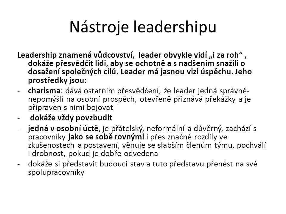 """Nástroje leadershipu Leadership znamená vůdcovství, leader obvykle vidí """"i za roh , dokáže přesvědčit lidi, aby se ochotně a s nadšením snažili o dosažení společných cílů."""