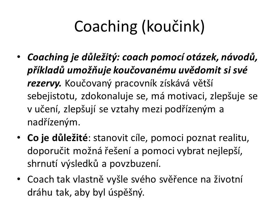 Coaching (koučink) Coaching je důležitý: coach pomocí otázek, návodů, příkladů umožňuje koučovanému uvědomit si své rezervy.