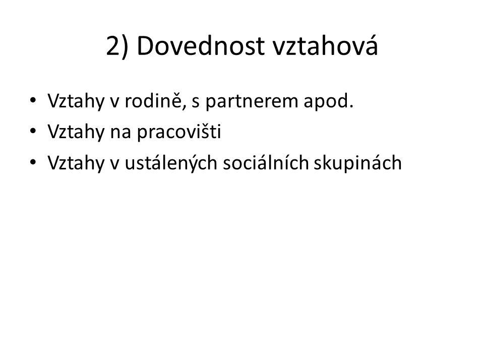 2) Dovednost vztahová Vztahy v rodině, s partnerem apod.