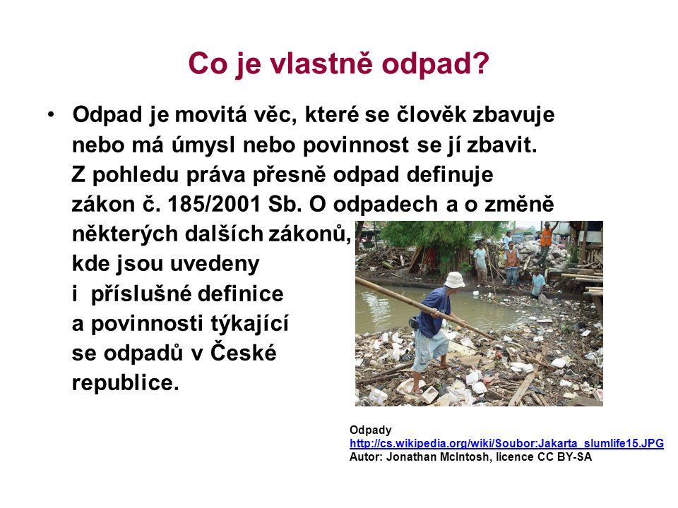 Co je vlastně odpad? Odpad je movitá věc, které se člověk zbavuje nebo má úmysl nebo povinnost se jí zbavit. Z pohledu práva přesně odpad definuje zák