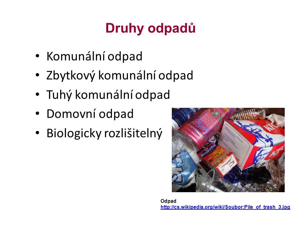 Druhy odpadů Komunální odpad Zbytkový komunální odpad Tuhý komunální odpad Domovní odpad Biologicky rozlišitelný Odpad http://cs.wikipedia.org/wiki/Soubor:Pile_of_trash_3.jpg
