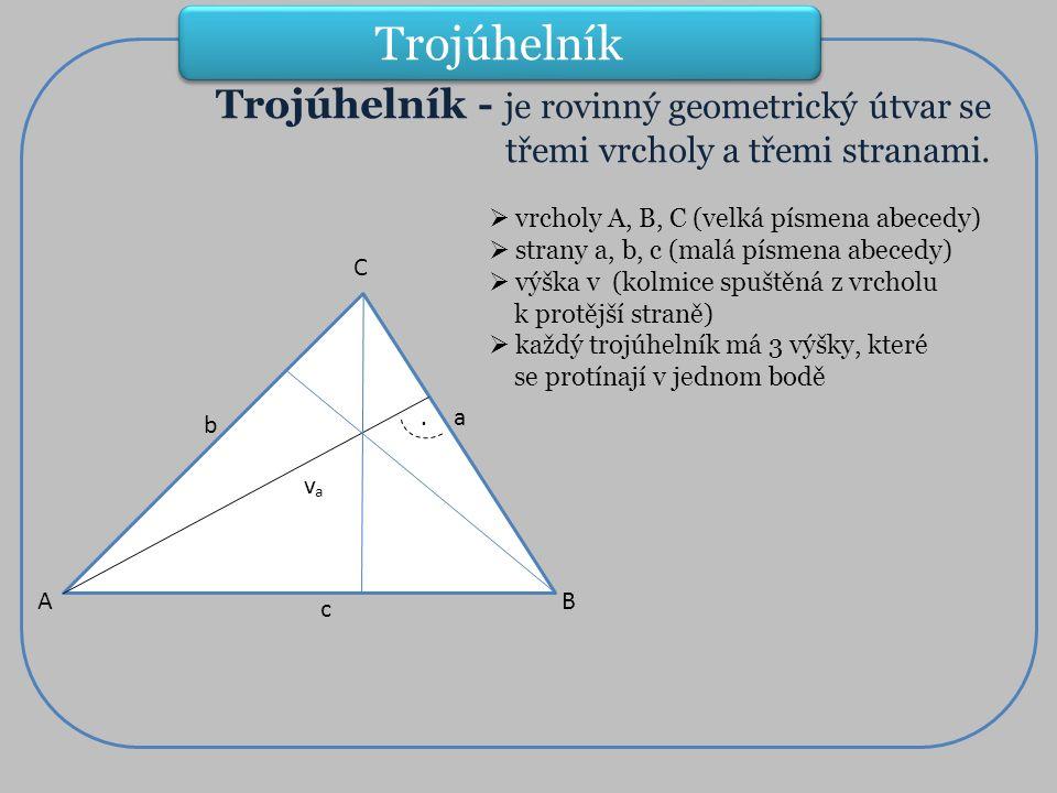 Trojúhelník - je rovinný geometrický útvar se třemi vrcholy a třemi stranami.