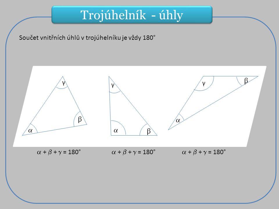 ° Součet vnitřních úhlů v trojúhelníku je vždy 180° a  β γ  +  +  = 180° β  γ β γ  Trojúhelník - úhly