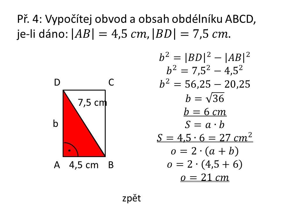 AB CD 4,5 cm 7,5 cm b zpět